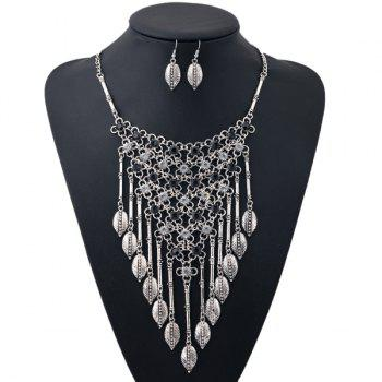 A Suit of Rhinestone Leaf Triangle Necklace and Earrings