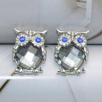 Pair of Faux Crystal Owl Stud Earrings