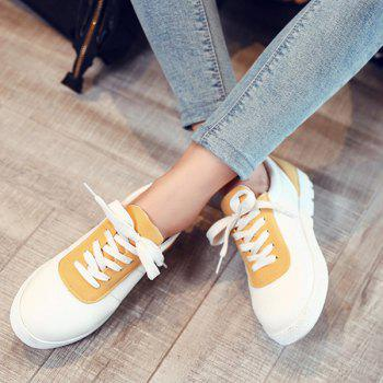 Leisure Color Block and Lace-Up Design Women's Athletic Shoes