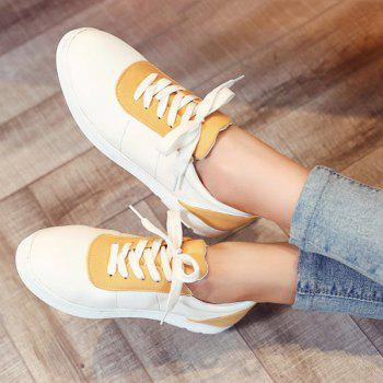 Leisure Color Block and Lace-Up Design Women's Athletic Shoes - YELLOW 37
