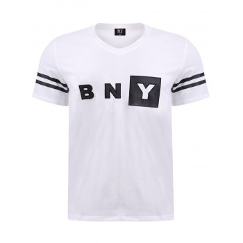 BoyNewYork Letters Applique Stripes Pattern T-Shirt