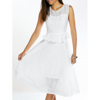 Stylish Women's Jewel Neck Sleeveless Ruffled Grid Dress