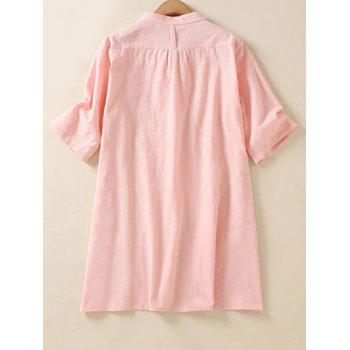 Plus Size Vertical Pocket Shirt - PINK 2XL