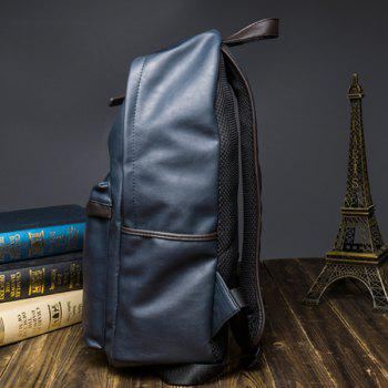 Casual Dark Color and PU Leather Design Men's Backpack - BLUE
