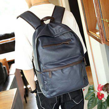 Casual Dark Color and PU Leather Design Men's Backpack - BLUE BLUE