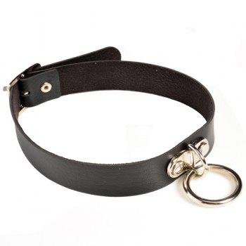 Faux Leather Circle Alloy Choker Necklace - BLACK