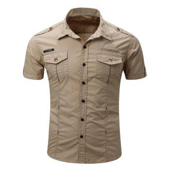 Men's Fashionable Turn-Down Collar Pocket Design Cargo Shirt