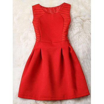 Sleeveless Pleated Pure Color Fit and Flare Dress