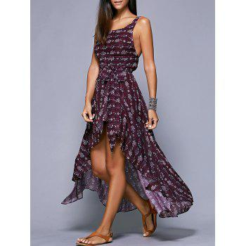 Floral Print High Low Maxi Slip Dress