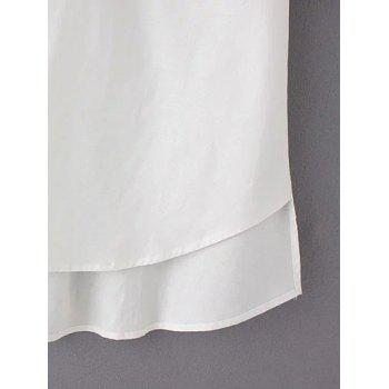 Sweet Plus Size High-Low Hem Pocket Design Blouse - WHITE 3XL