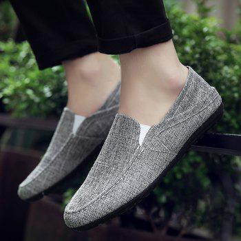 Simple Solid Color and Linen Design Men's Loafers - DEEP GRAY 41
