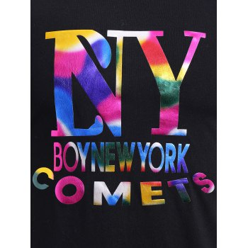 BoyNewYork Colorful Letters Pattern T-Shirt - BLACK S
