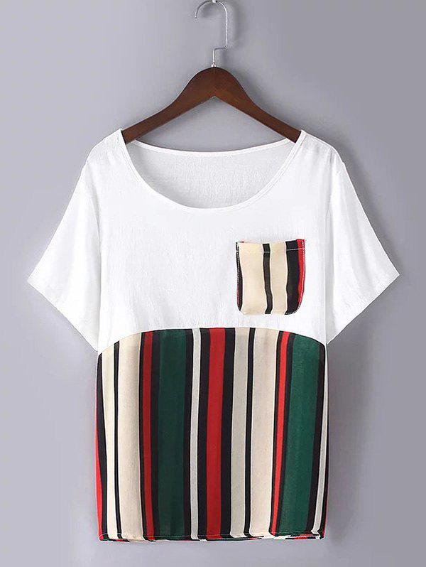 Casual Plus Size Pocket Hit Color Striped T-Shirt - GREEN XL