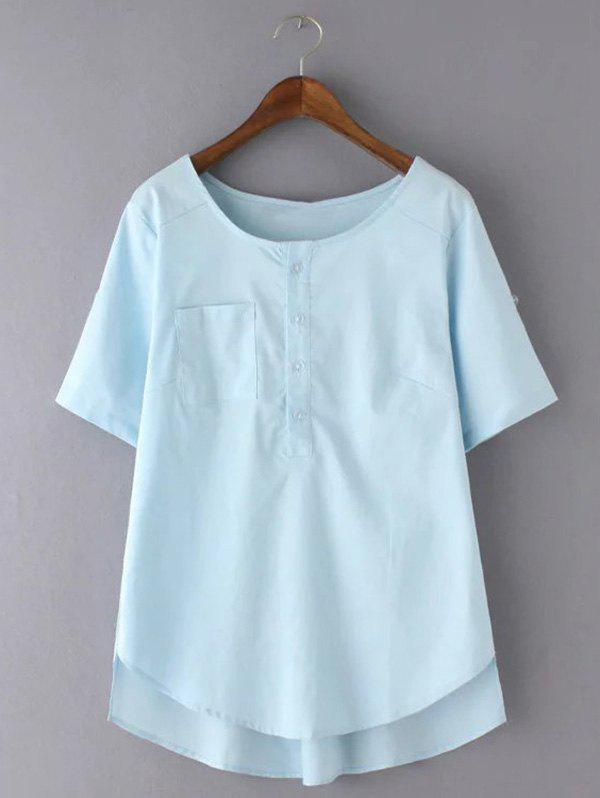 Doux Plus Size High-Low Hem Pocket design Blouse - Bleu Léger 2XL