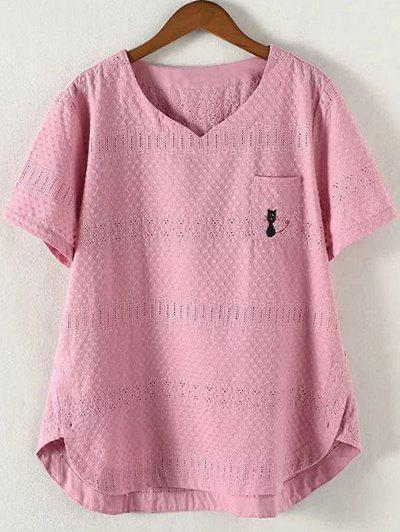 Brief Plus Size Hollow Out Single Pocket Blouse - PINK 4XL