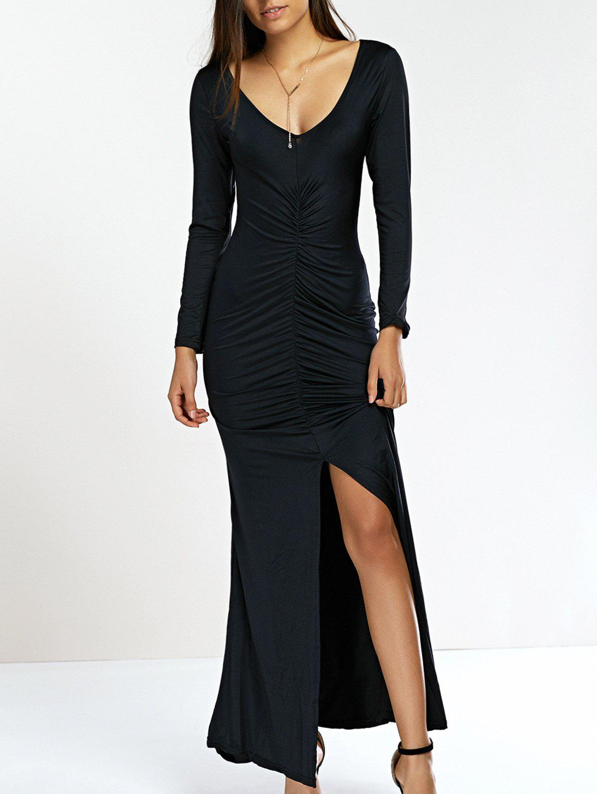 Plunge Neck High Slit Sheath Mermaid Dress - BLACK L