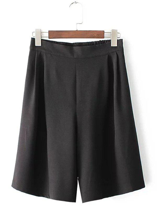 Plus Size Wide Leg Culotte Pants - BLACK 2XL