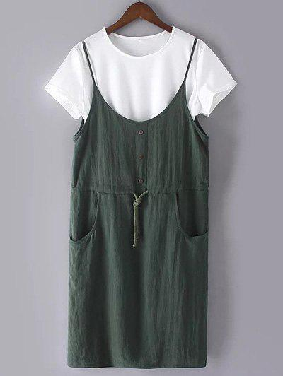 Casual Plus Size White T-Shirt and Pockets Cami Dress - ARMY GREEN 2XL