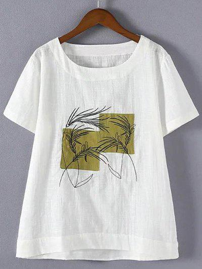 Refreshing Plus Size Embroidered Appliqued T-Shirt - WHITE 4XL