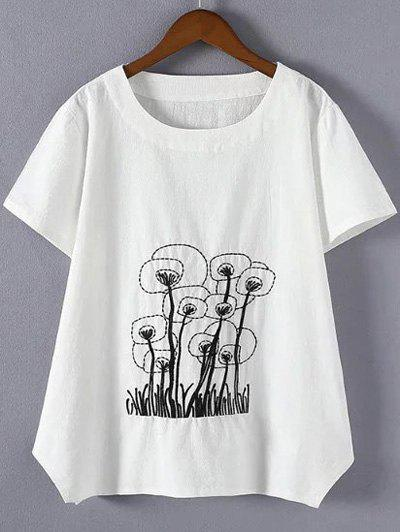 Brief Plus Size Embroidered Asymmetrical T-Shirt - WHITE 4XL