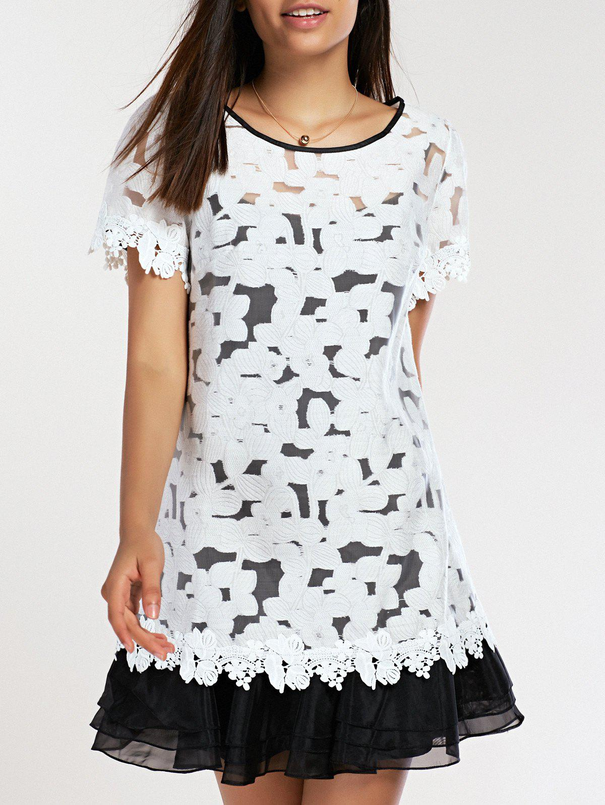 Stylish Womens Jewel Neck Organza Lace Dress TwinsetWomen<br><br><br>Size: L<br>Color: WHITE AND BLACK