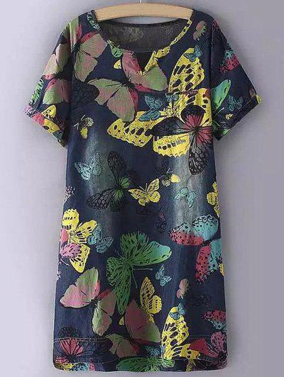 Stylish Plus Size Butterfly Print Cut Out Shift Dress - COLORMIX 3XL
