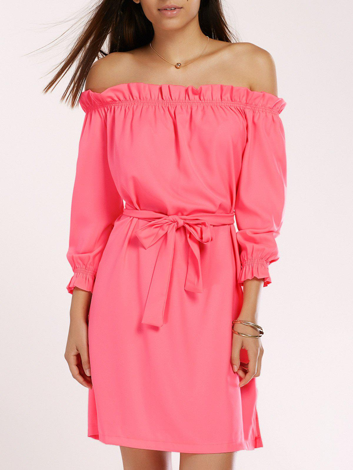 Off The Shoulder Ruffled Belted Neon Dress - WATERMELON RED M
