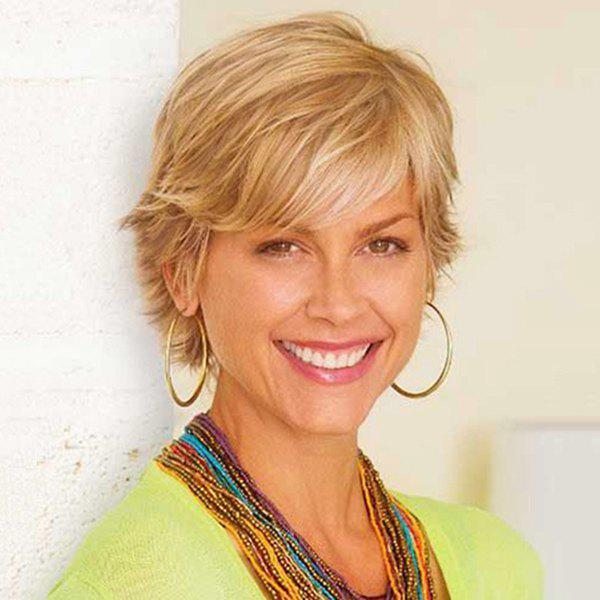 Sophisticated Short Fluffy Side Bang Human Hair Wig For Women - BLONDE