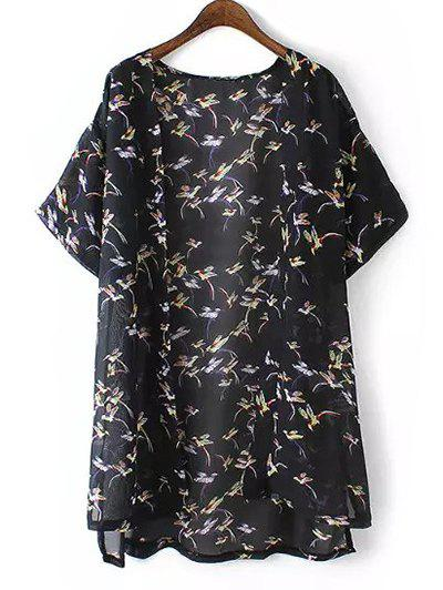 Plus Size Bird Print High Low Hem Kimono - BLACK 3XL