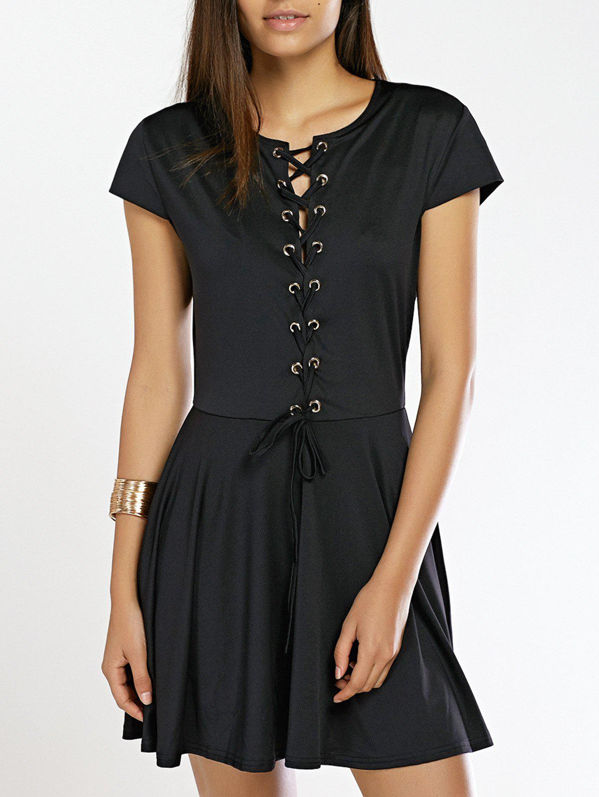 Lace-Up Hollow Out Fit and Flare Dress - BLACK L
