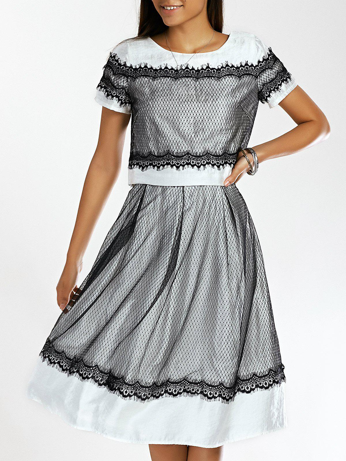 Stylish Women's Jewel Neck Lace Top and A-Line SKirt Set Dress