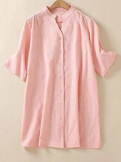 Plus Size Vertical Pocket Shirt - PINK L