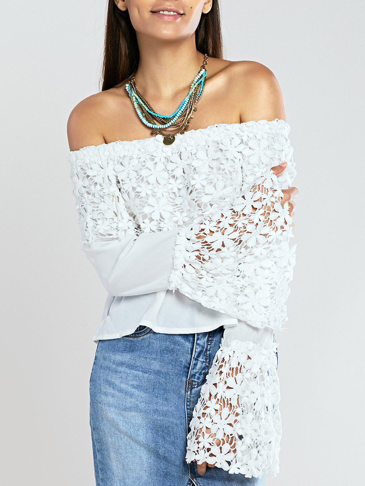 Off The Shoulder Crochet Trim Bell Sleeve Blouse - WHITE XL