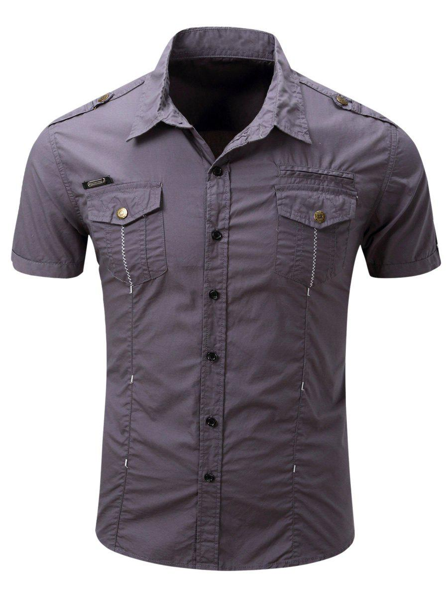 Men's Fashionable Turn-Down Collar Pocket Design Cargo Shirt - GRAY 2XL