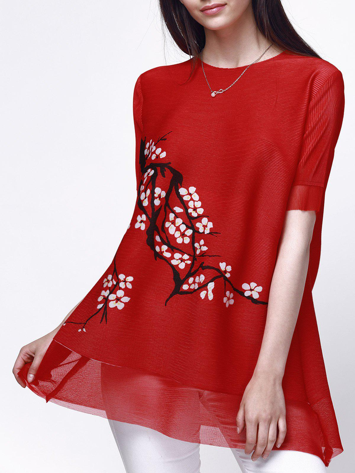 Casual Style Women's Jewel Neck Short Sleeve Floral Print Ribbed Blouse - RED ONE SIZE(FIT SIZE XS TO M)
