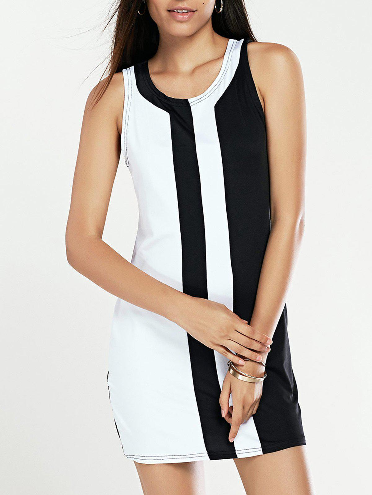 Slimming Black and White Spliced Dress For Women - WHITE/BLACK M