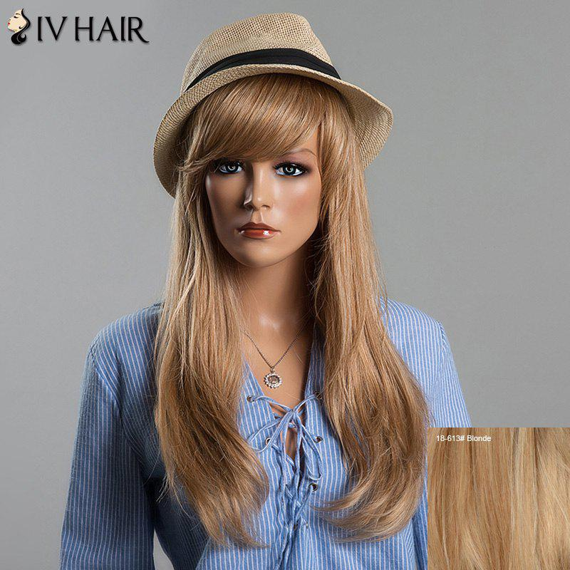 Charming Long Side Bang Siv Hair Natural Straight Capless Human Hair Wig For Women - BLONDE