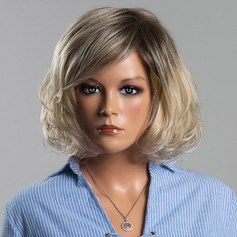Fluffy Short Wave Mixed Color Human Hair Noble Side Bang Capless Siv Hair Wig For Women - COLORMIX