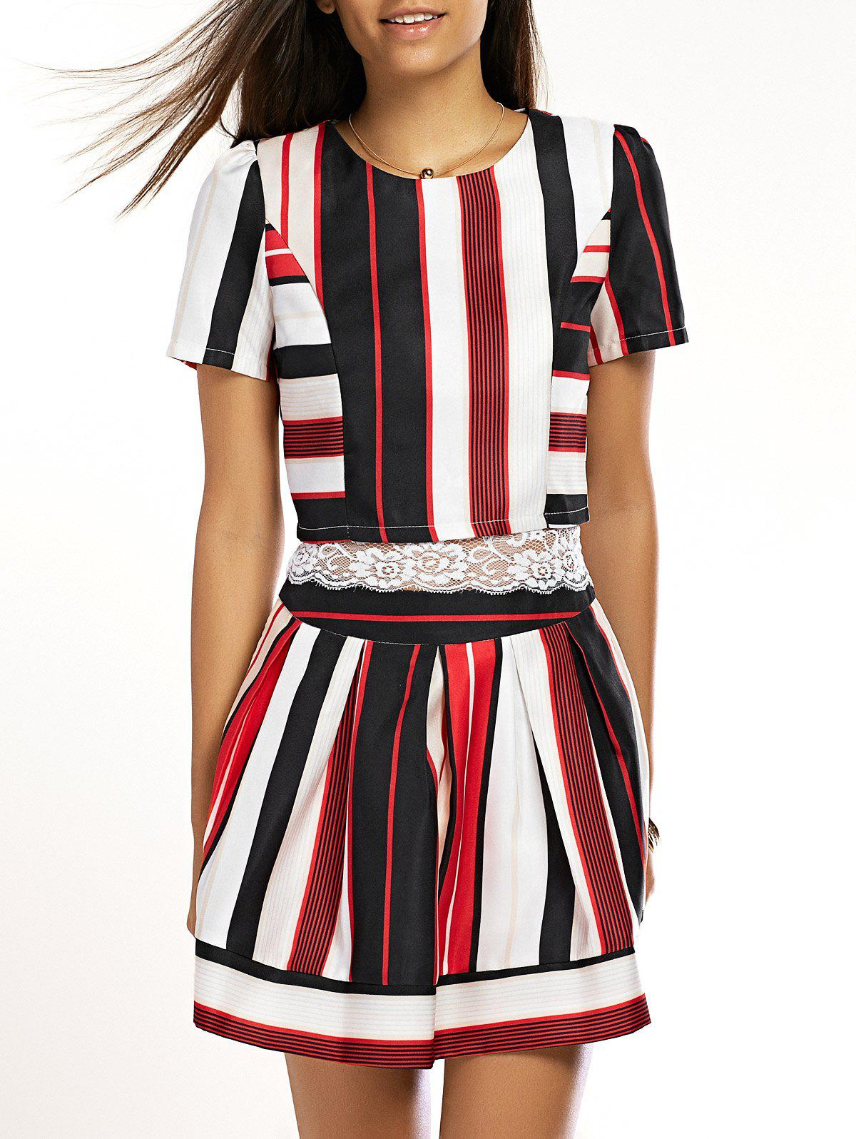 Chic Striped Lace Top +  Skirt Twinset For Women - RED M