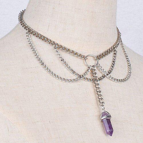 Punk Style Silver Plated Multilayered Link Chain Faux Amethyst Choker For Women punk style exaggerated alloy multilayered body chain for women
