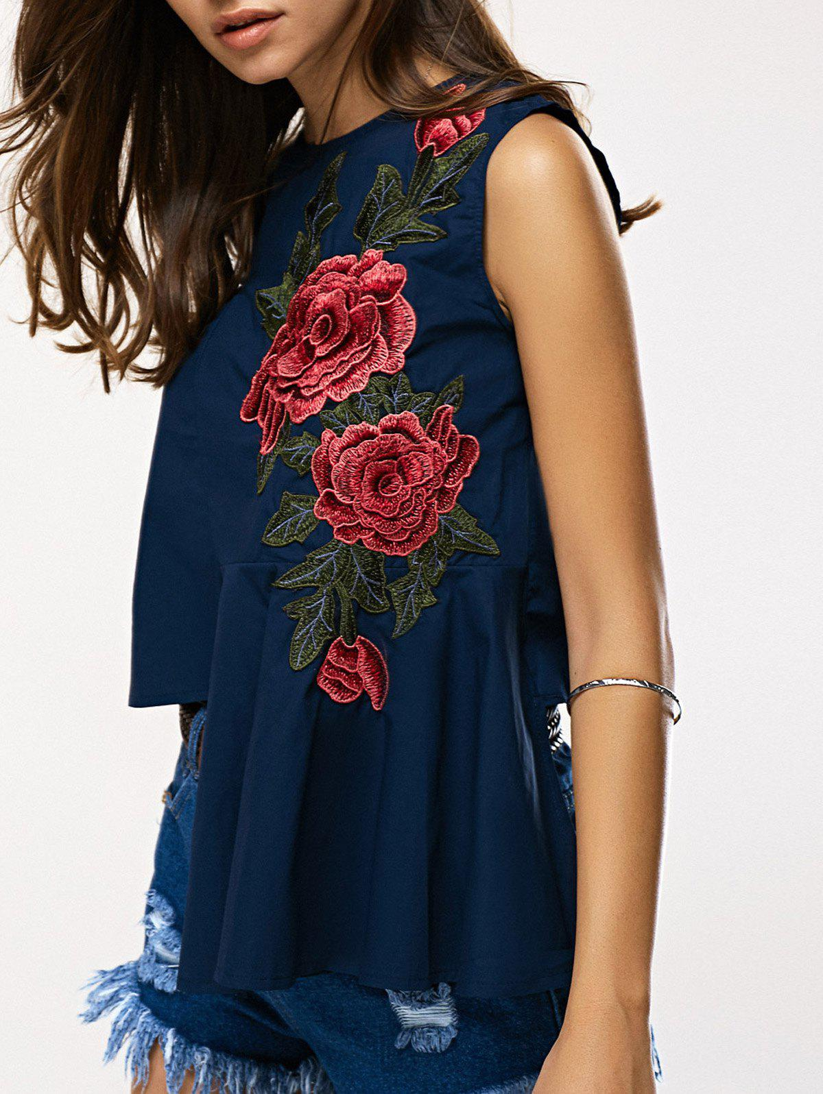 Chic Asymmetrical Rose Embroidery Women's Blouse - DEEP BLUE ONE SIZE(FIT SIZE XS TO M)
