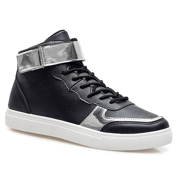 Sports Style High Top and PU Leather Design Men's Casual Shoes - BLACK 42
