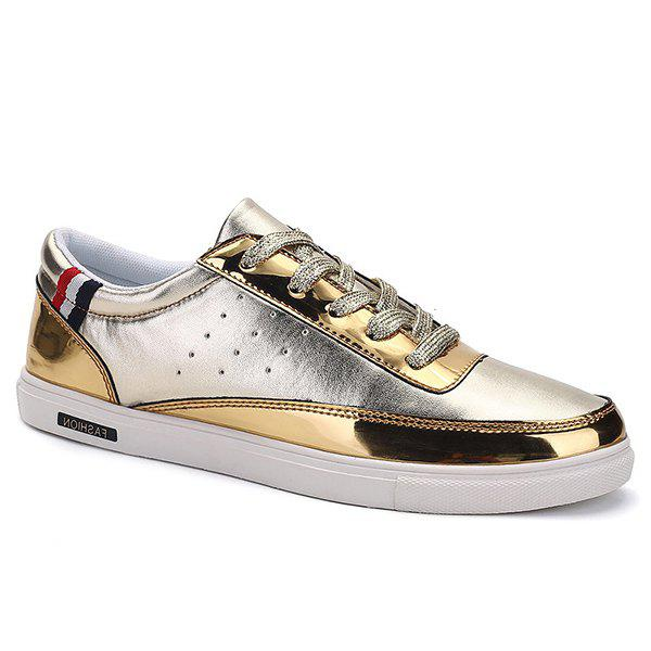 Stylish Metallic Color and Lace-Up Design Men's Casual Shoes