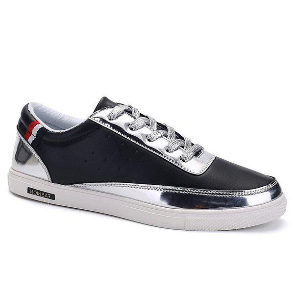 Stylish Metallic Color and Lace-Up Design Men's Casual Shoes - BLACK 43