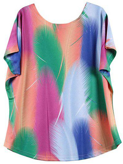 Looses-Fitting Bat Sleeve Colorized Feather Print T-Shirt - COLORMIX 2XL