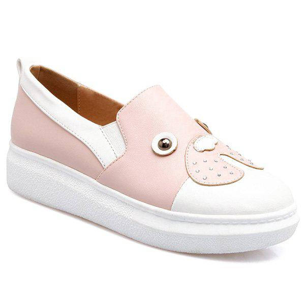 Cute Patchwork and Slip On Design Women's Flat Shoes - PINK 37