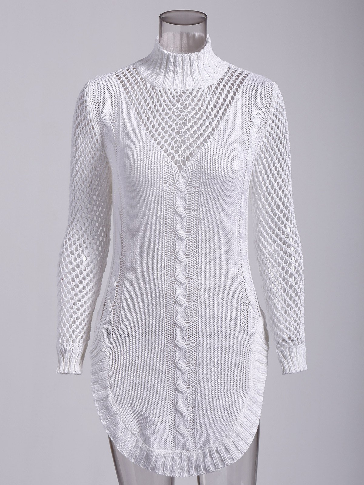 Long Sleeve Hollow Out Short Jumper Dress - WHITE S