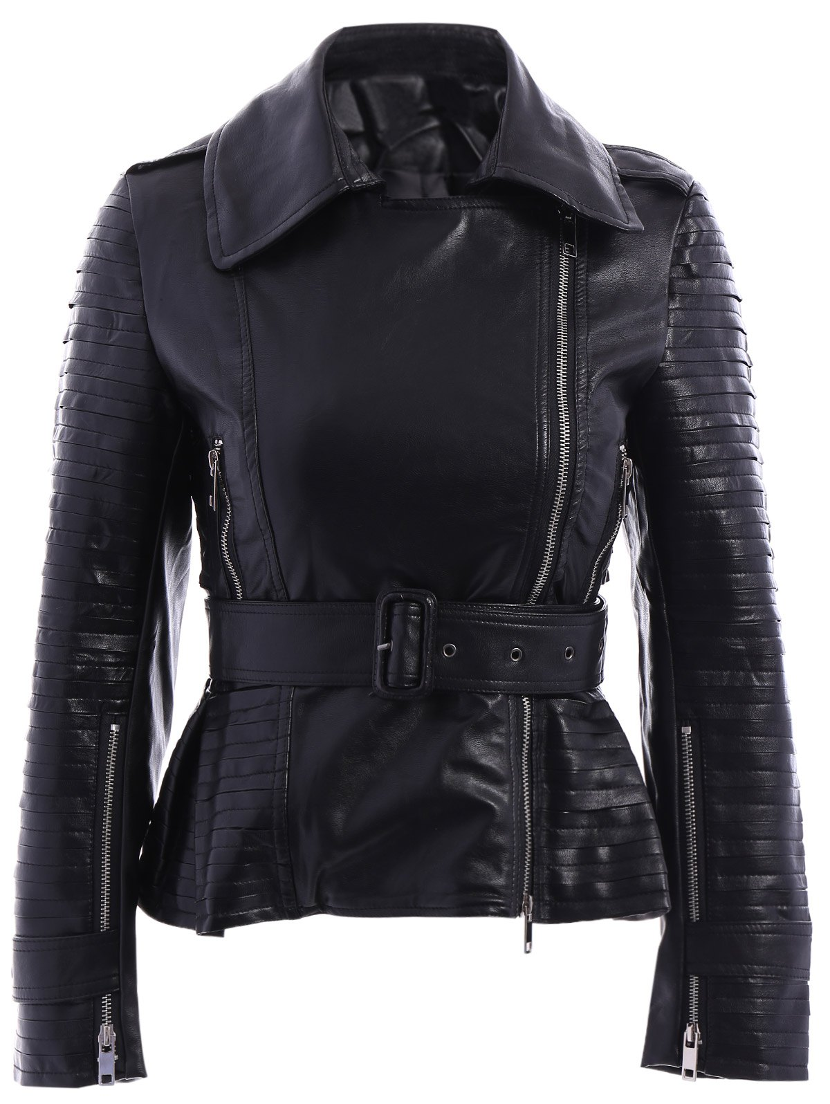 Chic Long Sleeve Pure Color Belted PU JacketFor Women - BLACK L