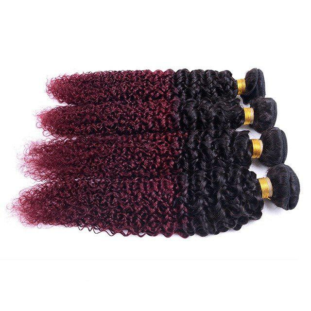 Stylish 1 Pcs Mixed Color Kinky Curly Women's 7A Virgin Brazilian Hair Weave - COLORMIX 10INCH