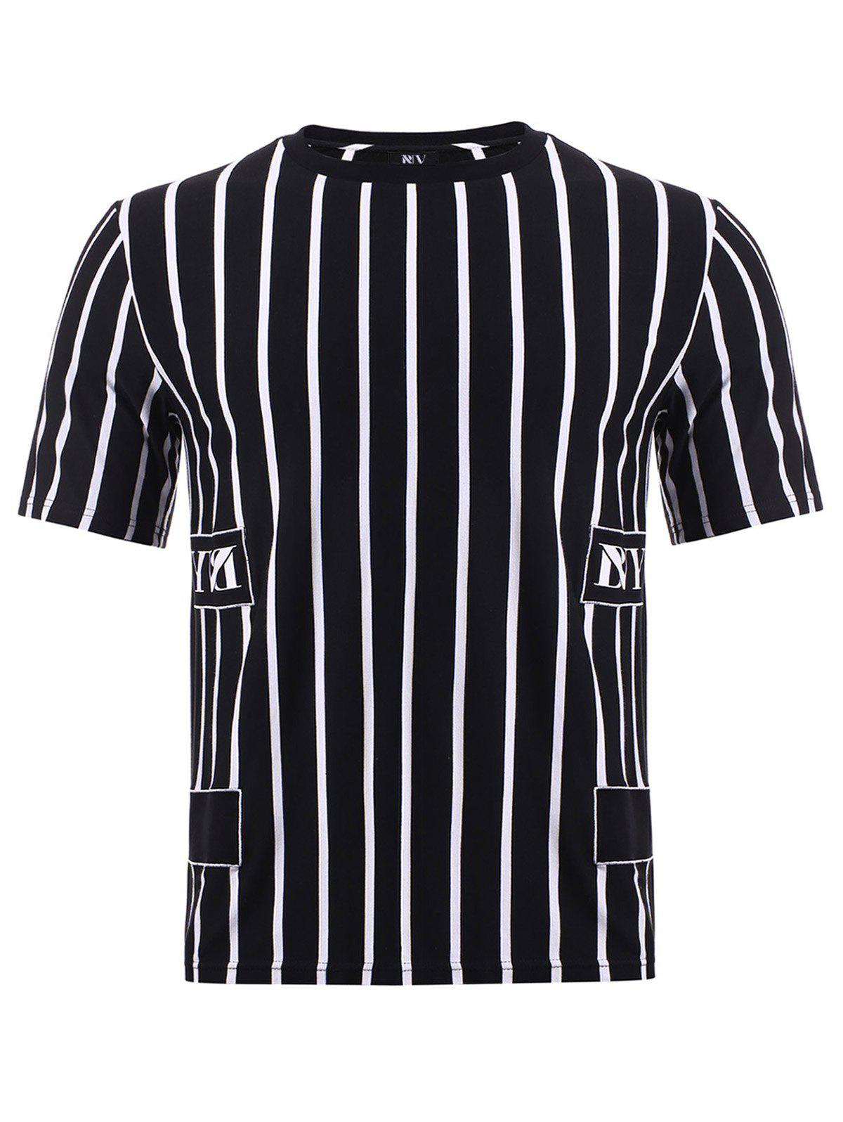 BoyNewYork Color Block Stripes Pattern T-Shirt - XL STRIPE